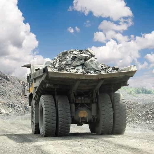 Haul truck full of rock