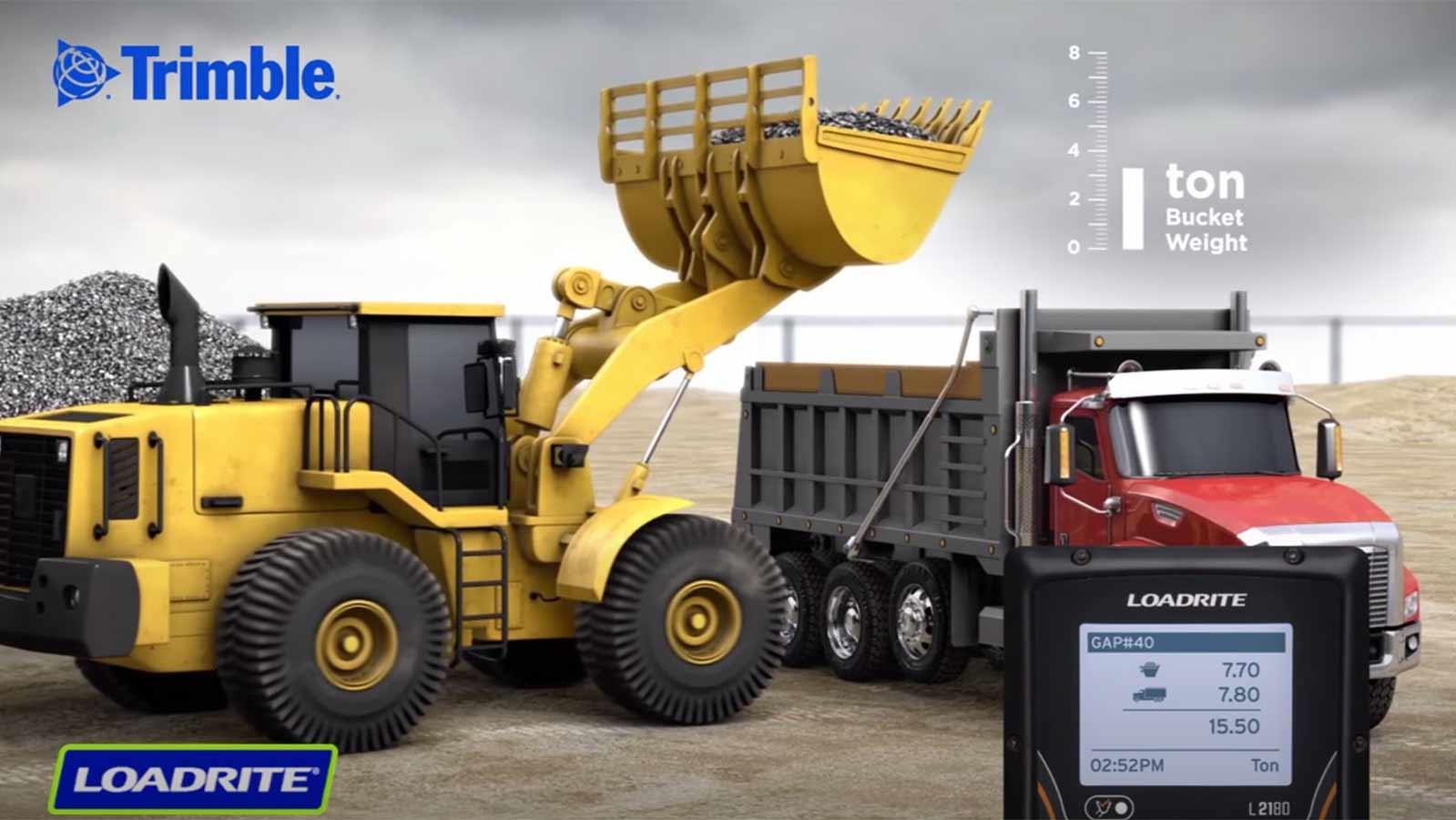 Loadrite video screenshot - wheel loader loading truck